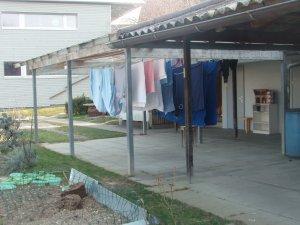 Laundry hanger under glass roof