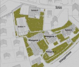 Vogelschau gesamte Siedlung (Zeichnung)